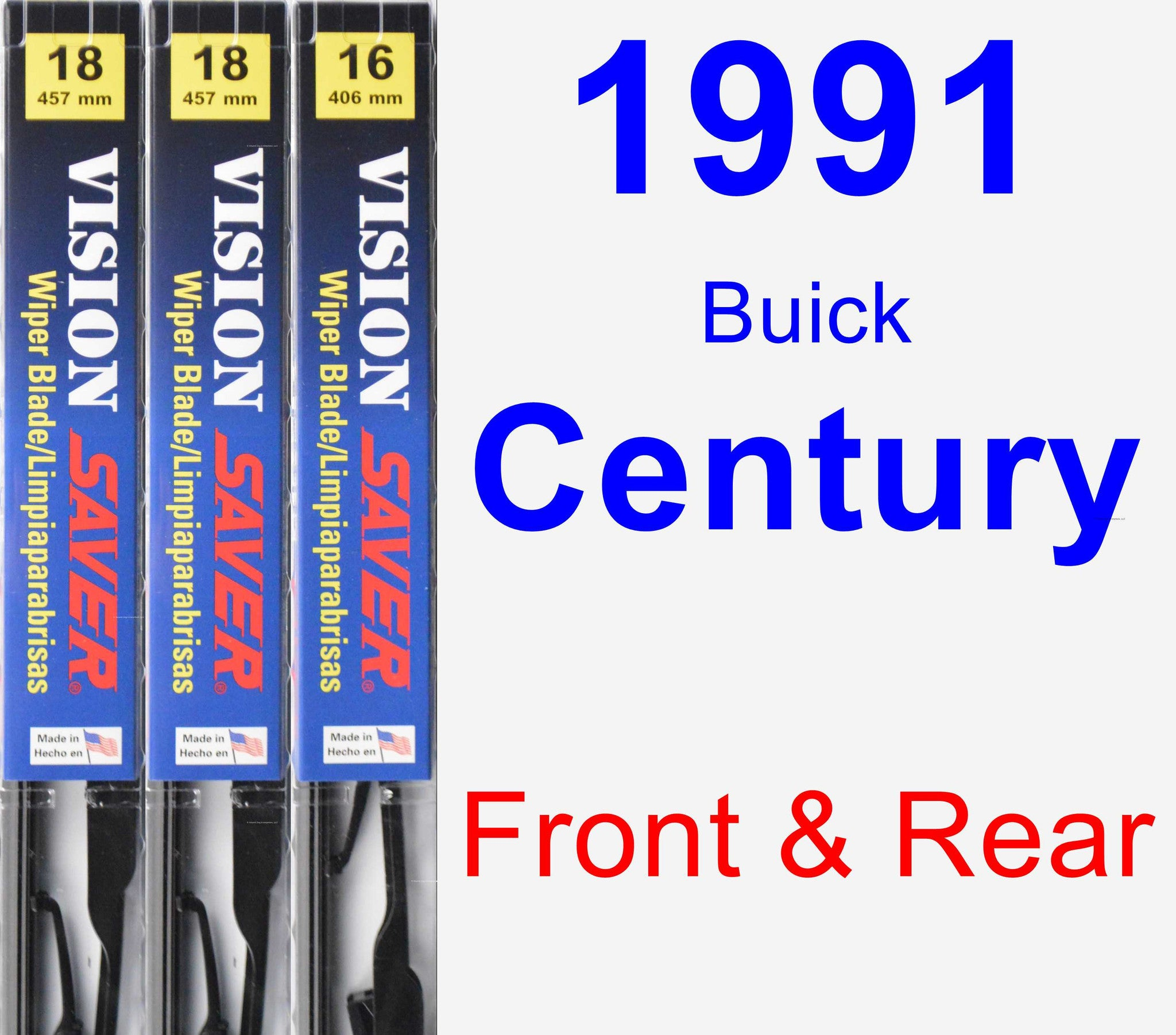 Front & Rear Wiper Blade Pack for 1991 Buick Century - Vision Saver