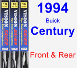 Front & Rear Wiper Blade Pack for 1994 Buick Century - Vision Saver