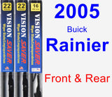 Front & Rear Wiper Blade Pack for 2005 Buick Rainier - Vision Saver