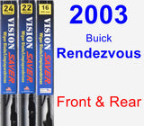 Front & Rear Wiper Blade Pack for 2003 Buick Rendezvous - Vision Saver