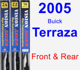 Front & Rear Wiper Blade Pack for 2005 Buick Terraza - Vision Saver