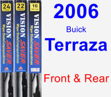 Front & Rear Wiper Blade Pack for 2006 Buick Terraza - Vision Saver