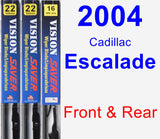 Front & Rear Wiper Blade Pack for 2004 Cadillac Escalade - Vision Saver