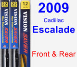 Front & Rear Wiper Blade Pack for 2009 Cadillac Escalade - Vision Saver