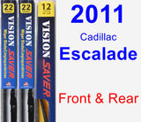 Front & Rear Wiper Blade Pack for 2011 Cadillac Escalade - Vision Saver
