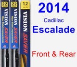 Front & Rear Wiper Blade Pack for 2014 Cadillac Escalade - Vision Saver
