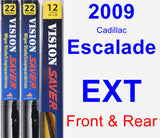 Front & Rear Wiper Blade Pack for 2009 Cadillac Escalade EXT - Vision Saver