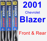 Front & Rear Wiper Blade Pack for 2001 Chevrolet Blazer - Vision Saver