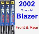 Front & Rear Wiper Blade Pack for 2002 Chevrolet Blazer - Vision Saver