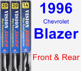 Front & Rear Wiper Blade Pack for 1996 Chevrolet Blazer - Vision Saver