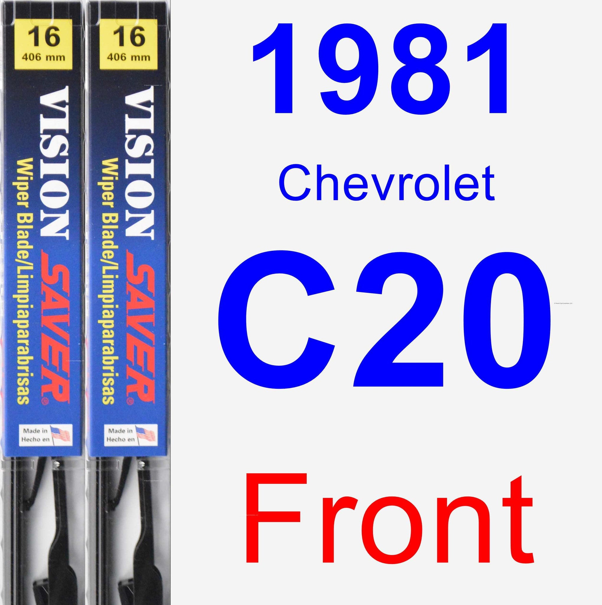 Front Wiper Blade Pack for 1981 Chevrolet C20 - Vision Saver