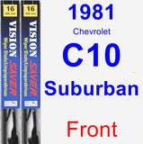 Front Wiper Blade Pack for 1981 Chevrolet C10 Suburban - Vision Saver