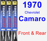 Front & Rear Wiper Blade Pack for 1970 Chevrolet Camaro - Vision Saver
