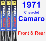 Front & Rear Wiper Blade Pack for 1971 Chevrolet Camaro - Vision Saver