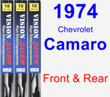 Front & Rear Wiper Blade Pack for 1974 Chevrolet Camaro - Vision Saver