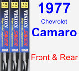 Front & Rear Wiper Blade Pack for 1977 Chevrolet Camaro - Vision Saver