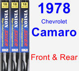 Front & Rear Wiper Blade Pack for 1978 Chevrolet Camaro - Vision Saver