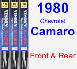 Front & Rear Wiper Blade Pack for 1980 Chevrolet Camaro - Vision Saver