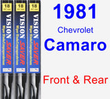 Front & Rear Wiper Blade Pack for 1981 Chevrolet Camaro - Vision Saver