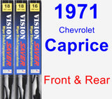 Front & Rear Wiper Blade Pack for 1971 Chevrolet Caprice - Vision Saver