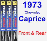 Front & Rear Wiper Blade Pack for 1973 Chevrolet Caprice - Vision Saver