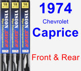 Front & Rear Wiper Blade Pack for 1974 Chevrolet Caprice - Vision Saver