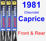 Front & Rear Wiper Blade Pack for 1981 Chevrolet Caprice - Vision Saver