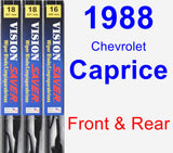 Front & Rear Wiper Blade Pack for 1988 Chevrolet Caprice - Vision Saver