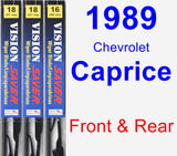 Front & Rear Wiper Blade Pack for 1989 Chevrolet Caprice - Vision Saver