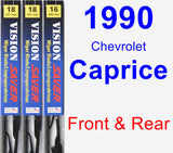 Front & Rear Wiper Blade Pack for 1990 Chevrolet Caprice - Vision Saver