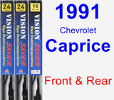 Front & Rear Wiper Blade Pack for 1991 Chevrolet Caprice - Vision Saver