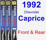 Front & Rear Wiper Blade Pack for 1992 Chevrolet Caprice - Vision Saver