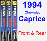 Front & Rear Wiper Blade Pack for 1994 Chevrolet Caprice - Vision Saver