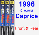 Front & Rear Wiper Blade Pack for 1996 Chevrolet Caprice - Vision Saver