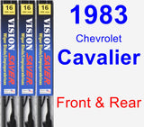 Front & Rear Wiper Blade Pack for 1983 Chevrolet Cavalier - Vision Saver