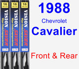 Front & Rear Wiper Blade Pack for 1988 Chevrolet Cavalier - Vision Saver