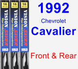 Front & Rear Wiper Blade Pack for 1992 Chevrolet Cavalier - Vision Saver