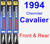 Front & Rear Wiper Blade Pack for 1994 Chevrolet Cavalier - Vision Saver