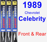 Front & Rear Wiper Blade Pack for 1989 Chevrolet Celebrity - Vision Saver