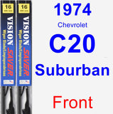 Front Wiper Blade Pack for 1974 Chevrolet C20 Suburban - Vision Saver