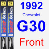 Front Wiper Blade Pack for 1992 Chevrolet G30 - Vision Saver