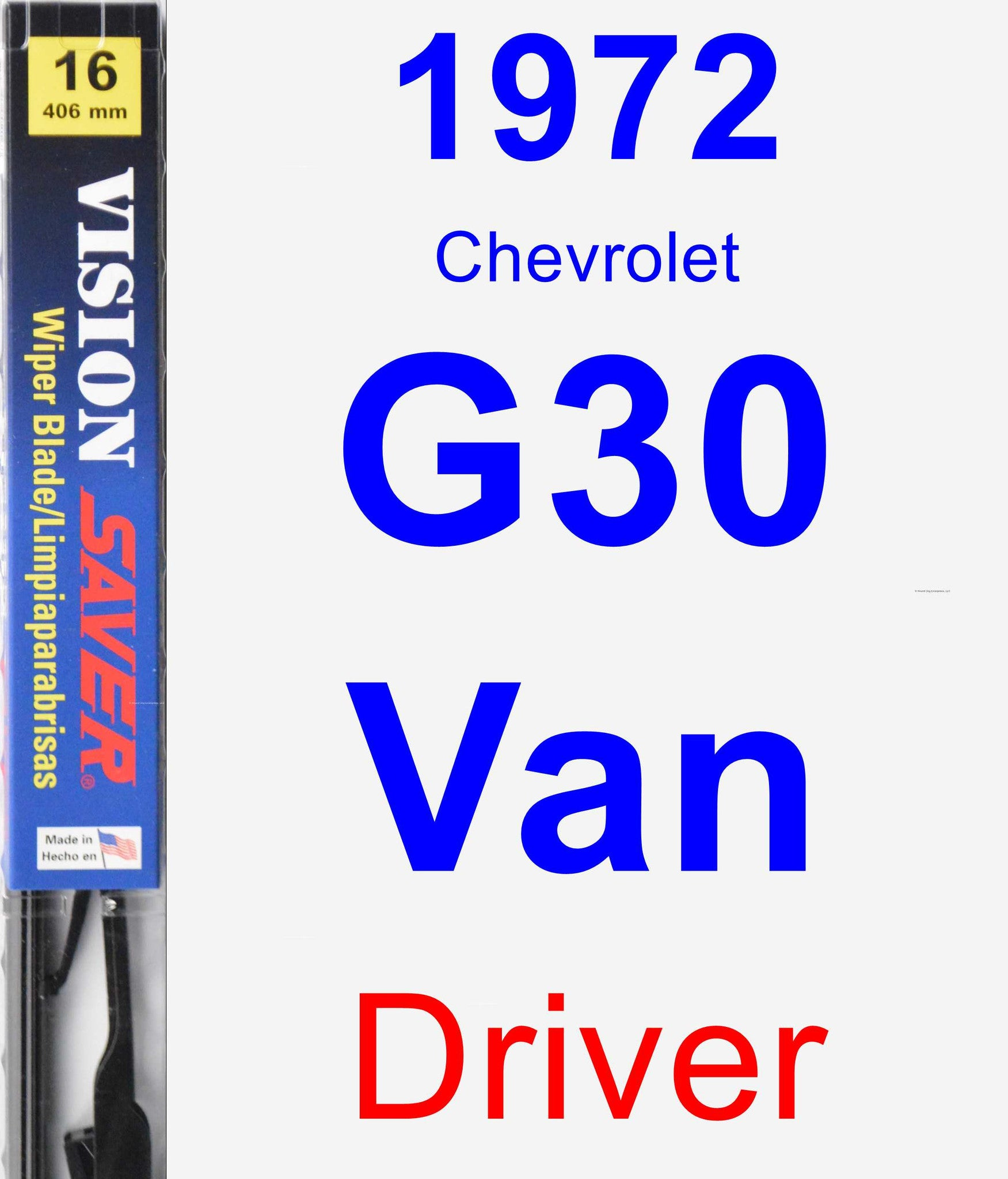 Driver Wiper Blade for 1972 Chevrolet G30 Van - Vision Saver