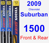 Front & Rear Wiper Blade Pack for 2009 Chevrolet Suburban 1500 - Vision Saver