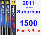 Front & Rear Wiper Blade Pack for 2011 Chevrolet Suburban 1500 - Vision Saver