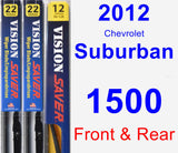 Front & Rear Wiper Blade Pack for 2012 Chevrolet Suburban 1500 - Vision Saver