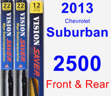 Front & Rear Wiper Blade Pack for 2013 Chevrolet Suburban 2500 - Vision Saver