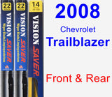Front & Rear Wiper Blade Pack for 2008 Chevrolet Trailblazer - Vision Saver