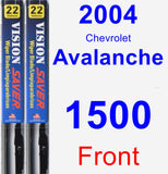 Front Wiper Blade Pack for 2004 Chevrolet Avalanche 1500 - Vision Saver