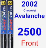 Front Wiper Blade Pack for 2002 Chevrolet Avalanche 2500 - Vision Saver