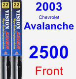 Front Wiper Blade Pack for 2003 Chevrolet Avalanche 2500 - Vision Saver